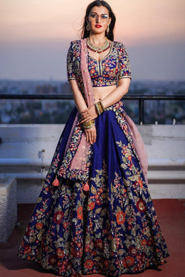 Beautiful Blue Taffeta Silk Embroidery Work Designer Lehenga Choli