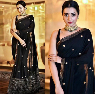 Attractive Black Georgette Embroidery Work Bollywood Look Saree