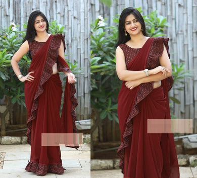 Attractive Maroon Designer Freel Embellish Saree