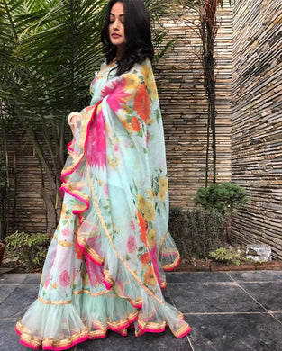 Designer Multicolor Georgette Digital Printed Saree