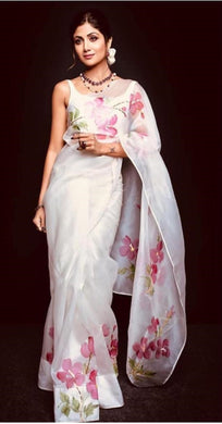 Stuning White Designer Organza Silk Digital Printed Saree