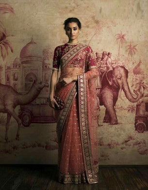 Amazing Peach Net Embroidery Work Designer Look Saree