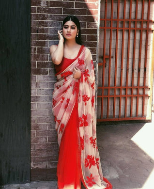 Attractive Red And Off_white Embroidery Work Designer Saree