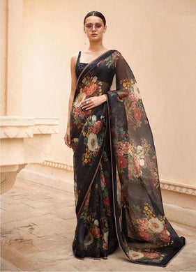 Designer Black Organza Silk Digital Printed Saree