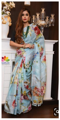 Designer Sky_blue Linen Silk Digital Printed Saree