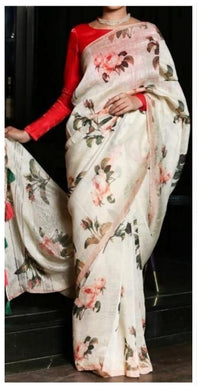 Elegant White Linen Silk Digital Printed Saree
