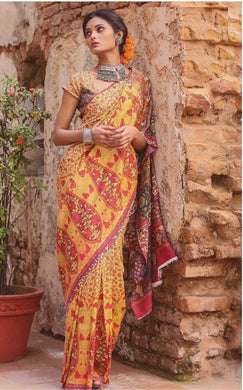 Classic Musterd Cotton Silk Printed Saree