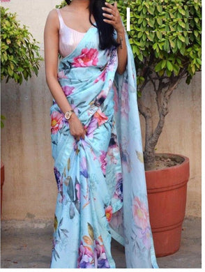 Dazzling Sky_blue Georgette Digital Printed Saree