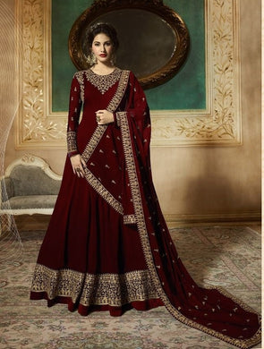 Desreving Maroon Georgette Embroidery Work Designer Look Salwar Suit