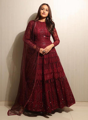 Trendy Maroon Floor Touch Bollywood Designer Georgette Embroidery And Hand Work Gown