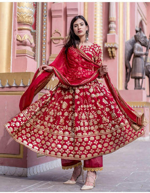 Amazing Red Taffeta Silk Embroidery Work Designer Look Salwar Suit