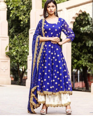 Exiting Blue Georgette Embroidery Work Designer Summer Special Plazzo Salwar Suit