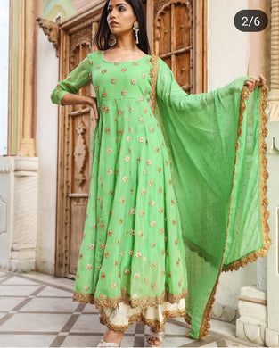 Angelic Green Georgette Embroidery Work Designer Summer Special Plazzo Salwar Suit