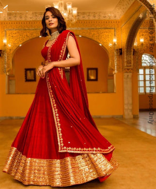 Delightful Red Georgette Embroidery Work Designer Circular Lehenga Choli