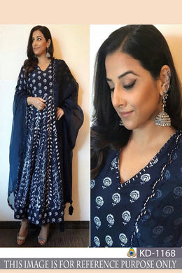 Attractive Navy_blue Banarasi Slub Silk Bollywood Look Salwar Suit