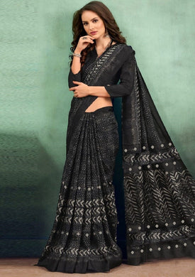 Attractive Black Linen Silk Designer Digital Print Saree