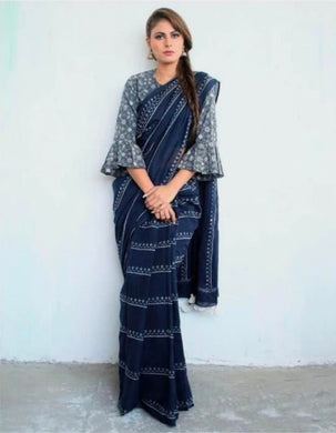 Designer Navy_blue Linen Silk Digital Printed Saree