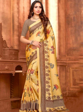 Amazing Yellow Designer Linen Silk Digital Printed Saree