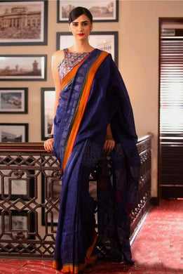 Awesome Look Navy_blue Designer Digital Printed Saree