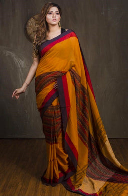 Awesome Orange Designer Digital Printed Designer Look Saree