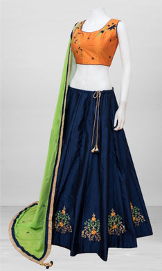 Angelic Navy_blue Taffeta Silk Embroidery Work Circular Lehenga Choli