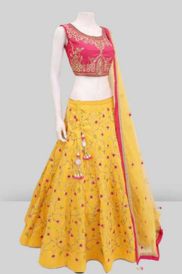 Amazing Yellow Banglori Satin Embroidery Work Circular Lehenga Choli