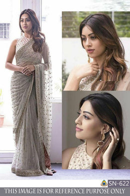 Imperial Grey Net Embroidery Work Designer Saree