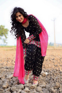 Charming Black And Pink Colored Embroideried Worked Punjabi Patiyala Suit