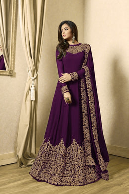 Magnificient Purple Coloured Codding Embroidered Worked Georgette Anarkali Salwar Suit