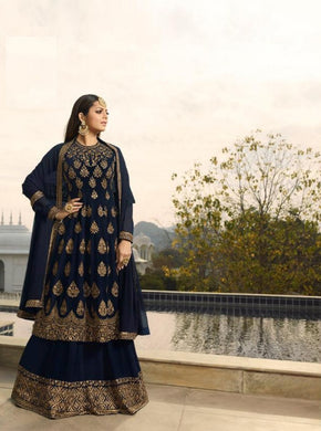 Beautiful Blue Coloured Heavy Embroidered Worked Full Flair Wedding Wear Sharara Suit