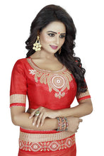 Red And Beige Embroidery Georgette Saree With Work Blouse