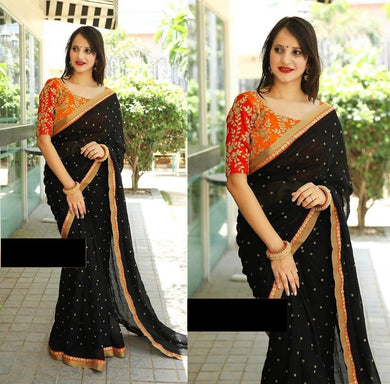 Designer Black Color Embroidery + Sequence Work Saree With Blouse
