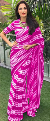 Fabulous Pink Color Georgette Printed Saree With Blouse