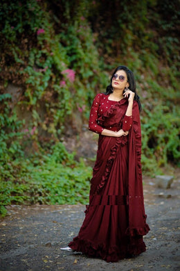 Amazing Maroon Color Sequence Work Ruffle Saree With Blouse