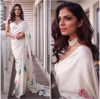 Awesome White Color Floral Design Printed Saree With Blouse