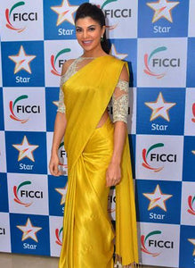 Jacqueline Fernandez Yellow Japan Crepe Saree With Work Blouse