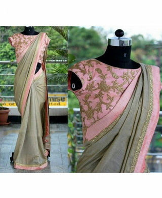 Exclusive Multicolor Chanderi Cotton Embroidery Sequence Saree With Blouse