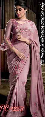 Fabulous Peach Color Embroidery Resam Silk Saree With Work Blouse