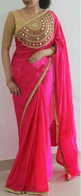 Pink Color Designer Rajwadi Silk Embroidery + Mirror Work Saree