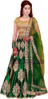 Exclusive Designer Green Taffeta Silk Lehenga Choli
