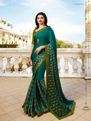Awesome Prachi Desai Teal Acolor Georgette Printed Saree With Blouse