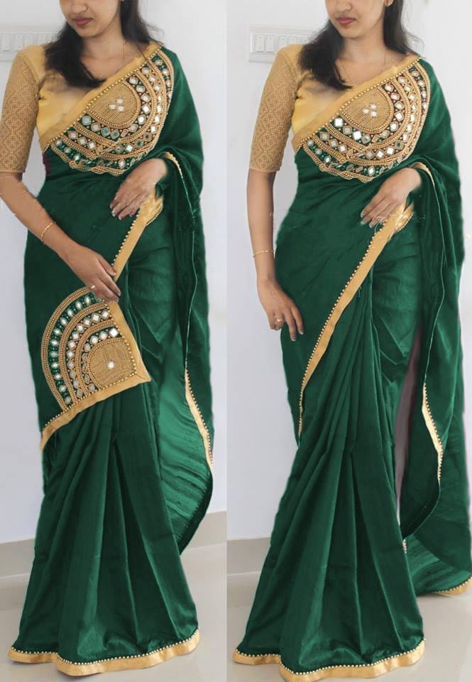 0d7d0a20eb76dd Stylish Green Color Embroidery + Mirror Patch Work Saree With Blouse ...