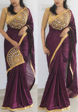 Wine Color Designer Embroidery +  Mirror Work Saree With Blouse