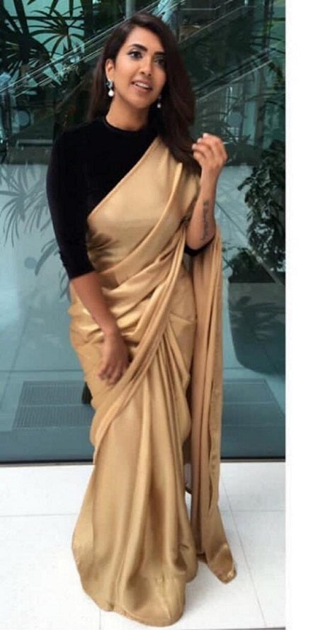 100% quality casual shoes good looking Stylish Golden Color Georgette Zari Silk Saree With Blouse – SAREEU™