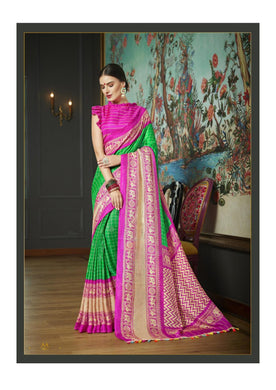 Awesome Green And Pink Tussle Printed Work Saree With Blouse
