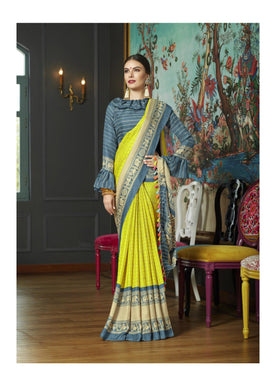 Awesome Lemon Yellow Color Tussle Printed Saree With Blouse