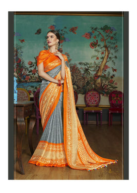 Attractive Orange And Grey Linen Juth Printed Saree With Blouse