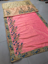 Designer Peach Color Embroidery + Diamond Work Saree With Work Blouse