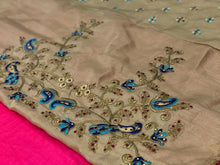 Indian Style Pink Color Embroidery + Diamond Work Saree With Work Blouse