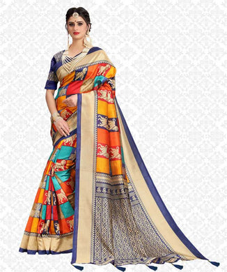 Awesome Multicolor Poly Silk Printed Saree With Blouse